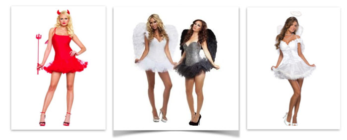 Ladies Womens Heaven /& Hell Costume for Devil Hen Party Halloween Fancy Dress